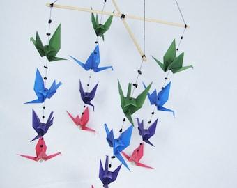 READY TO SHIP - Origami Crane Hanging Mobile - Dark Colors - Home Decor - Kids Room Decor
