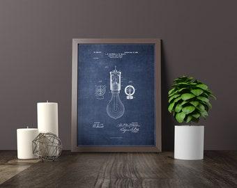 Ol curiosities book shoppe by ocbookshoppe on etsy light bulb socket blueprint patent home decor poster print digital download malvernweather Images