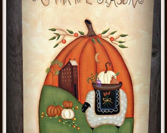 Primitive Fall Autumn 11 x 14 Canvas-Pumpkin-Sheep-Saltbox House Home Decor-Wall Art