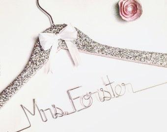 Glitter Hanger, Sparkle Hanger, Bride Christmas Gift, Bridal Hanger, Wedding Hanger, Personalized Hanger, Bride Hanger, Custom Hanger,