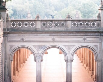 New York City Photography - Dawn at Bethesda Terrace, Central Park, Urban Architecture Photograph, Home Decor, Large Wall Art