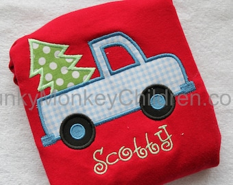 Personalized Christmas Boy's Truck with Christmas Tree Shirt - Boy's Monogrammed Christmas Tree Truck Shirt