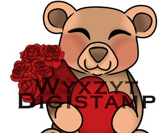 Cute teddy bear digistamp with roses and heart instant download