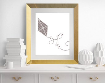 Nursery Wall Art, Kit Print, Modern Nursery Art, Brown Kite, Kite Printable - 8x10 - INSTANT DOWNLOAD - Buy 2 Get 1 FREE