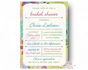 Tropical Bridal Shower Invitation (Printable) Luau Bridal Shower Invitation - Hawaiian Bridal Shower Invites - Tropical Flower Shower Invite