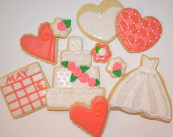 WEDDING THEME assorted decorated cookies.  Wedding dress, cake. Your choice of color & details.  Three free cookies with purchase!
