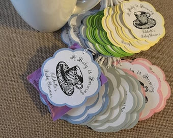Tea Party Favor Tags /  Love is Brewing / A Baby Is Brewing /Favor tags (sets of 12)