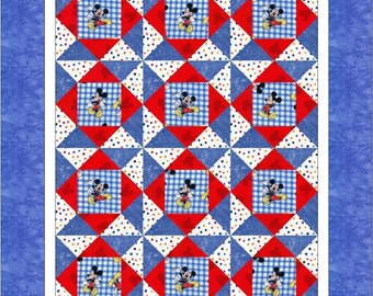 Mickey Mouse Patriotic Pinwheels Baby Crib Toddler Lap Quilt - Baby Shower Gift