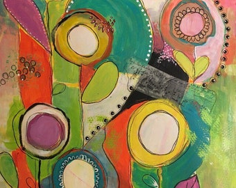 In My Garden Abstract Mixed Media 16 x 20 on Crescent board