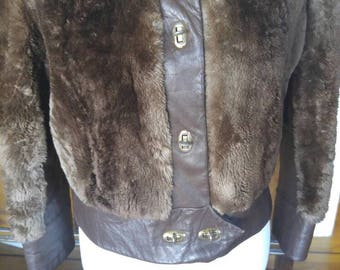 Vintage 1970s fur and leather bomber jacket, brown, small