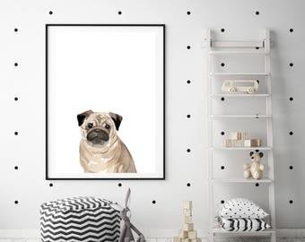 PUG PRINT, Pug Dog Print Watercolor Dog prints peekaboo print, Dog prints wall art, Nursery Dog Print Art, Nursery Decor, Pug Dog Wall Art