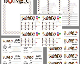 Off to the Races Bunco Printable Set, Horse Race Bunco Score Cards & Tally Sheet, Instant Download, Editable Bunco Invites
