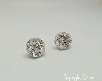 Sparkling Silver Faux Druzy Stud Earrings with Titanium Posts 10mm or 12mm - Sensitive Ears