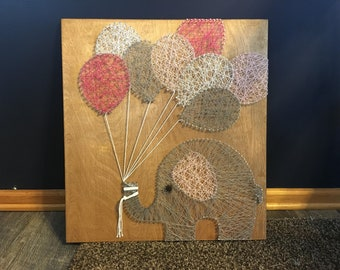 Elephant String Art with Balloons