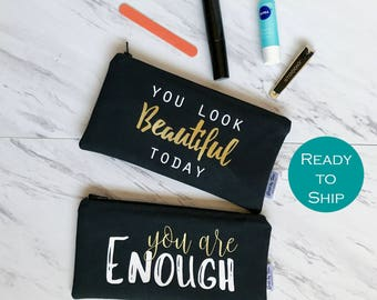 Personalized Zipper Pouch, Small Makeup Bag Large, Personalized Cosmetic Case, Custom Makeup Bag, Travel Accessories, Pencil Pouch
