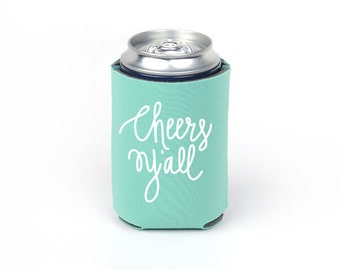 Cheers Y'all Can Cooler - Party Foam Emerald Green Foam Can Cooler with White Imprint
