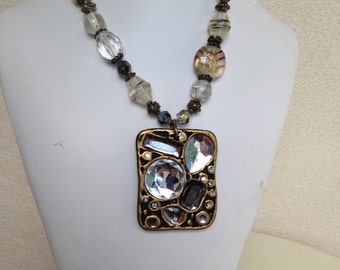 Vintage beaded faux glass with rhinestone pendant glam 1980s