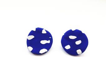 Blue and White Earrings   Polymer Clay Earrings   Geometric Earrings   Disk Earrings   Circle Earrings   Statement Earrings   Large Earring
