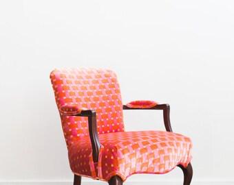 Upholstered Wooden Arm Chair Orange Pink Velvet