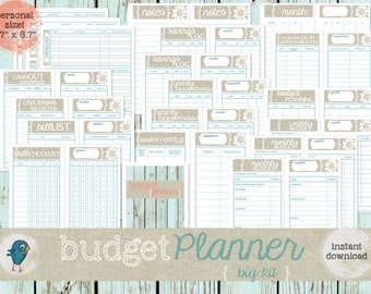 """PRINTABLE BUDGET Planner for your Personal Filofax (3.7""""x6.7"""")  (BIG-kit): Printable Budget & Planning Forms - Instant Download!"""