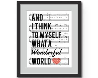 "What a Wonderful World Typographical Art Print - 8x10"" or 11x14"" Louis Armstrong Song Lyrics on Sheet Music Wall Art Print"