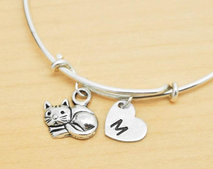 Cat Bangle, Sterling Silver Bangle, Cat Bracelet, Bridesmaid Gift, Personalized Bracelet, Charm Bangle, Monogram, Initial Bracelet