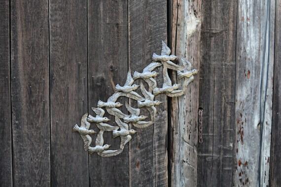 "Bird Flight Metal Wall Sculpture Handmade in Haiti 14"" X 34"""