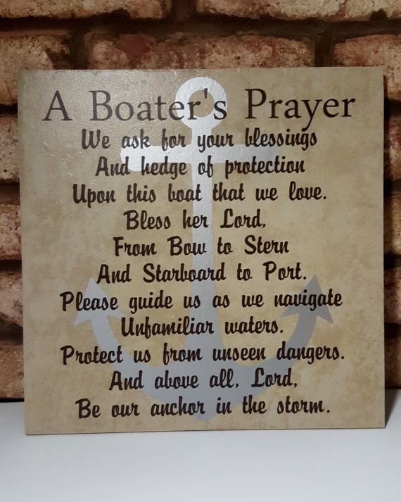 BOATER'S PRAYER - Boating Prayer - Love My Boat - Boat Blessing - Bless Our Boat - Anchor in the Storm - Prayer for Boaters - Boat Anchor