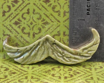 Handmade Raku Mustache 3 inches wide