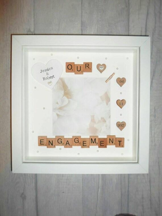 Items similar to Engagement Gift/Engagement Photo Frame/Personalised ...