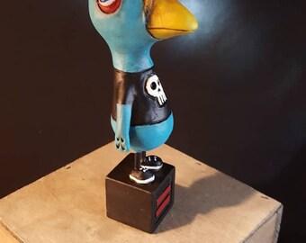 Blue Bird Boy Halloween Folk Art Fantasy Bird