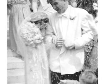 "Vintage Snapshot ""Fertility Rite"" Rice Throwing Bride & Groom Leaving The Church Ring Bearer Blur Motion Action Found Vernacular Photo"