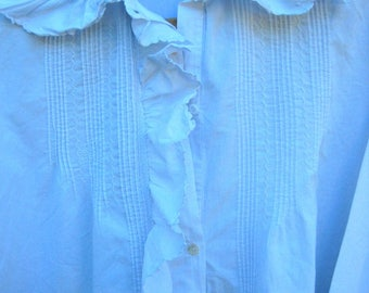 a vintage French nightgown, cotton nightgown, frills, ruffles, cotton, theatre costume, photo prop