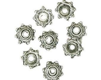 Bead Caps - Antique Silver - 3 x 8mm - 13 Pieces (dar197022)