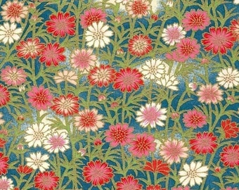 Chiyogami or yuzen paper - fresh daisy, pink and blue, 9x12 inches