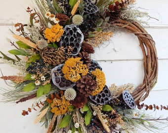 Front Door Wreath, Rustic Wreath, Primitive Wreath, Lotus Pods, Summer-Fall Wreath