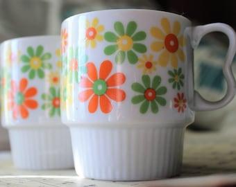Set of Japan Stacking Flower Mugs