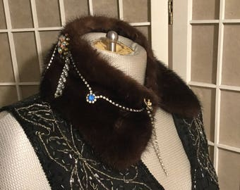 Vintage Mink Collar with Rhinestones and Costume Jewelry