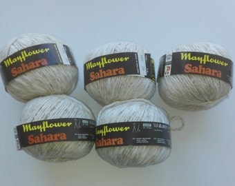 White yarn, vegan yarn, linen yarn, cotton yarn, Mayflower Sahara, yarn lot, cheap yarn, medium yarn, worsted yarn, aran yarn, afghan yarn