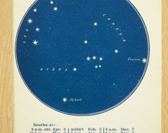 1900s Antique Astronomy Print , Blue-Black Star Chart of Constellations, Cancer the Crab, Hydra the Snake (17)