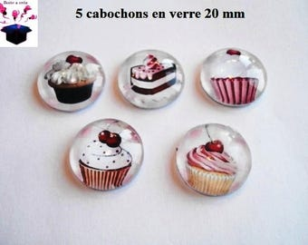 5 glass cabochons 20mm theme cake