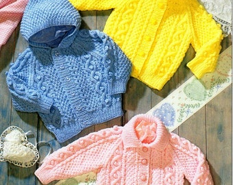 """baby childrens aran cardigan knitting pattern pdf download baby cable jacket hooded cardigan 18-24"""" aran worsted 10ply pdf instant download"""