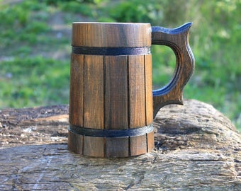 Wood Beer Mug, Tankard, Holz Bierkrug, Groomsman Gift, Wooden Tanakrd, Brown,Capacity: 22 oz (0.6l).