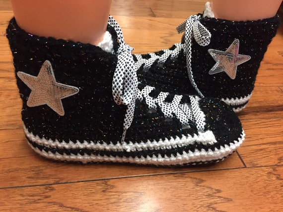 inspired slippers sneaker 8 shoes 10 Womens converse Converse white slippers tennis converse crochet shoes black converse crocheted tennis dIxtUStw