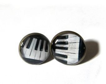 PIANO STUD EARRINGS - Piano earrings - music earrings - music gift - Piano Keyboard earrings - Black and White earrings, Piano post earrings