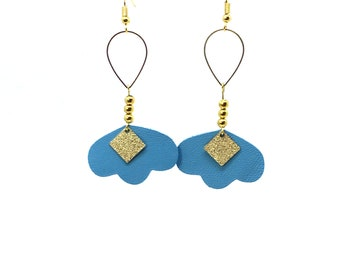 Light blue leather and Golden charms earrings