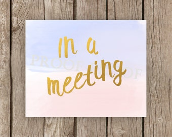 In A Meeting sign // Printable // Business Office // Beach Theme //  School Counselor // Psychologist // Therapist // Privacy // Teacher