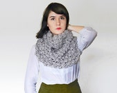 Chunky Knit Cowl - Infinity Scarf - Winter Knit Body Wrap with Bubbles in Grey - Cowl Cape  | The Ophelia Cowl |