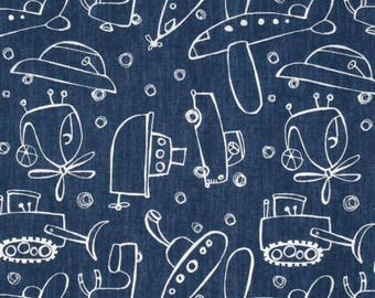 Indigo Automobiles - Jeans n Things Collection by David Walker - Quilt fabric by the Half-Yard or Full Yard - Free Spirit Fabrics