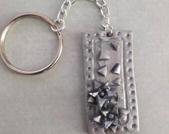 Rectangle flower key chain